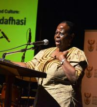 Deputy Minister Mabudafhasi opening the time of the writers festival