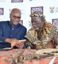 King Dingiswayo and Minister Nathi Mthethwa at the King Dingiswayo Legacy Celebrations at Dondotha